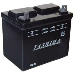 Batterie pour tondeuse autoportée 12V, 32A. L: 196, l: 131, H:184mm, + à gauche. (livrée sans acide).
