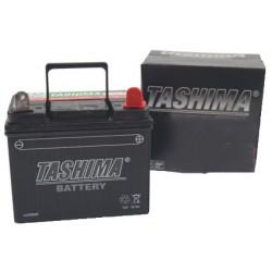 Batterie pour tondeuse autoportée 12V chargée sans entretien, 28A. L: 195, L: 130, H:185mm, + à droite.