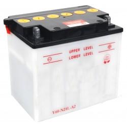 Batterie renforcée 12V, 28A. L: 184, l: 124, H:175mm, + à droite pour motoneige . (livrée sans acide).
