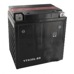 Batterie sans entretien 12V, 28A . L:166 mm, l:126 mm H:175 mm + à droite pour motos, motoneige ... (livrée avec acide séparé).