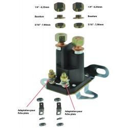 Relais de démarreur multi-applications 4 bornes à fixations latérales et inférieures.