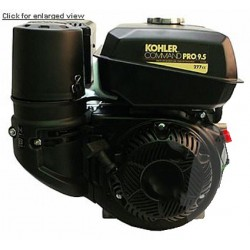 Moteur KOHLER CH395 essence 9,5PK avec axe conique horizontal et lanceur manuel.