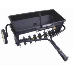 Aérateur épandeur d'une largeur de travail de 80 cm, capacité de 45 kg avec réglage du débit.