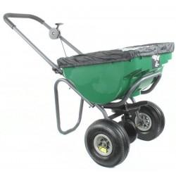 Épandeur rotatif à pousser d'une capacité maximale de 45 kg, pour une largeur d'épandage de 2,5 à 3 m.