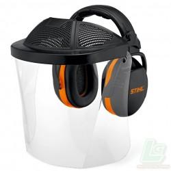 Visière intégrale courte avec écran en plastique Avec protection du front et coquilles anti-bruit