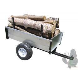 Remorque avec benne basculante en acier galvanisé avec châssis renforcé 108x67/80x30cm, 450kg.