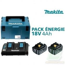 Pack Énergie 18 V Li-Ion (2 batteries + 1 chargeur double) avec coffret MAKPAC
